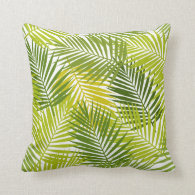 Tropical Palm Leaves Pattern Throw Pillow