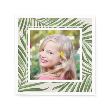 Beach Themed Tropical Palm Leaves | Photo Napkin
