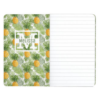 Tropical Palm Leaves & Pineapples | Add Your Name Journal