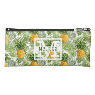 Tropical Palm Leaves & Pineapples | Add Your Name Pencil Case