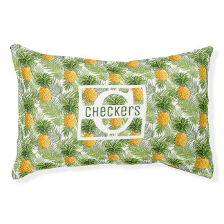 Tropical Palm Leaves & Pineapples | Add Your Name Pet Bed