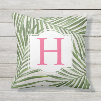 Tropical Palm Leaves | Pink Monogram Outdoor Pillow