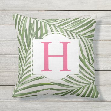Beach Themed Tropical Palm Leaves | Pink Monogram Outdoor Pillow
