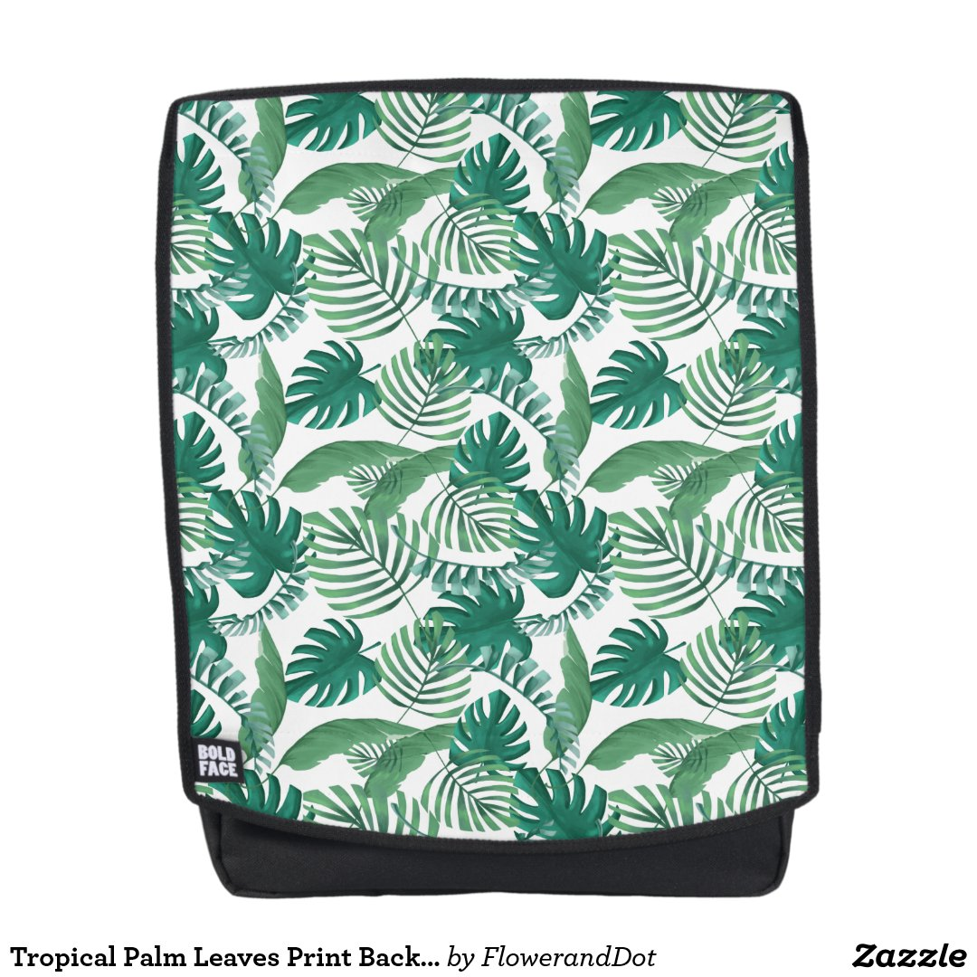 Tropical Palm Leaves Print Backpack