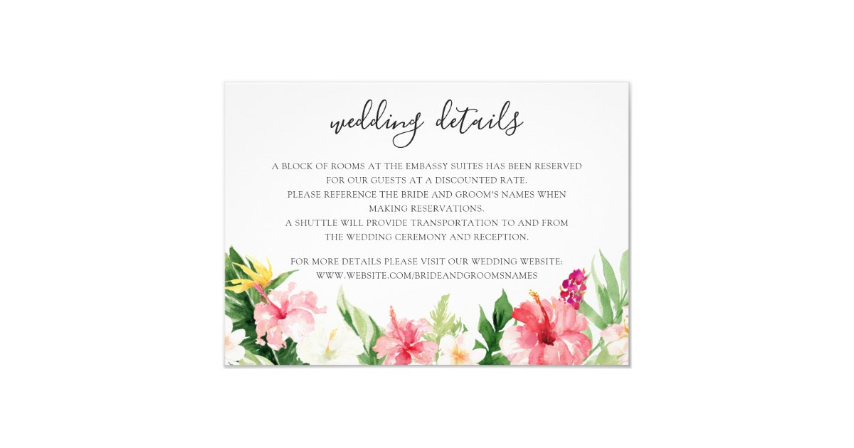 Tropical Palm Leaves Wedding Details Insert Card Zazzle Com This is optional of course, but it really adds great details. zazzle