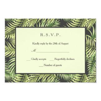 Tropical Palm Leaves Wedding RSVP Card