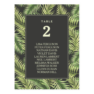 Tropical Palm Leaves Wedding Seating Chart Postcard