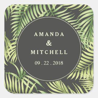Tropical Palm Leaves Wedding Sticker