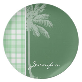 Tropical Palm & Light Green Plaid Dinner Plate
