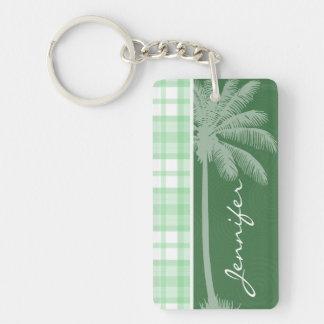 Tropical Palm & Light Green Plaid Acrylic Key Chain