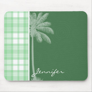 Tropical Palm & Light Green Plaid Mouse Pad