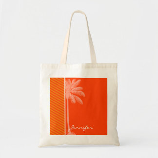 Tropical Palm; Orange Stripes Canvas Bag