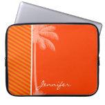 Tropical Palm; Orange Stripes Laptop Sleeves