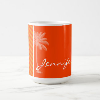 Tropical Palm; Orange Stripes Coffee Mug