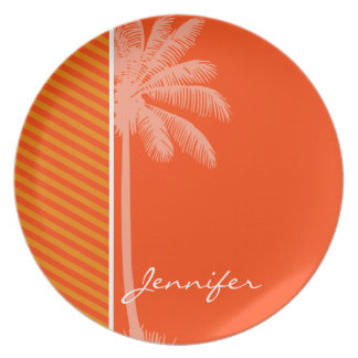 Tropical Palm; Orange Stripes Plate