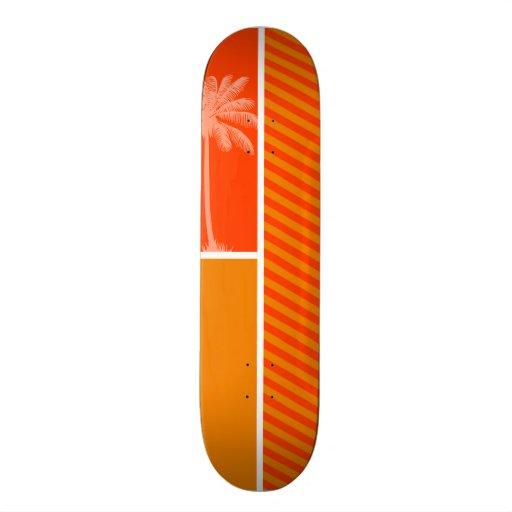 Tropical Palm; Orange Stripes Skateboard