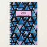 "Tropical Palm Paradise Pink Blue 2019 Personalized Planner<br><div class=""desc"">Features a tropical pink and blue palm leaf pattern with a modern overlay of triangles. Personalize with your name and year by editing the text in the text boxes or delete for no text. View our other products available in our store .</div>"