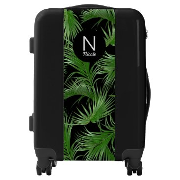 Tropical Palm Pattern with Any Monogram Luggage