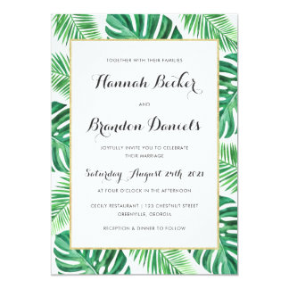 Tropical Palm Philadendron Beach Wedding Invite