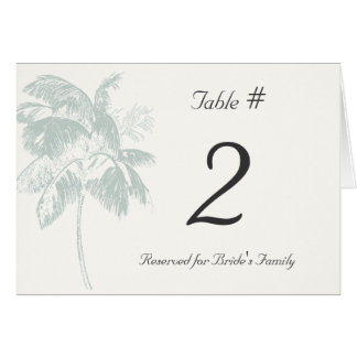 Tropical Palm Reception Table Number Card