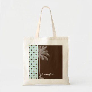 Tropical Palm; Sage Green & Brown Budget Tote Bag