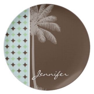 Tropical Palm; Sage Green & Brown Dinner Plates
