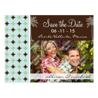 Tropical Palm; Sage Green & Brown Postcard