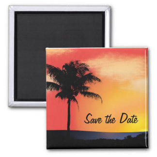 Tropical palm tree 2 inch square magnet