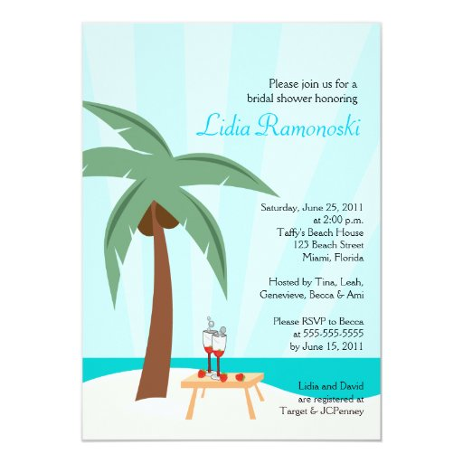 Tropical Palm Tree 5x7 Bridal Shower Invite