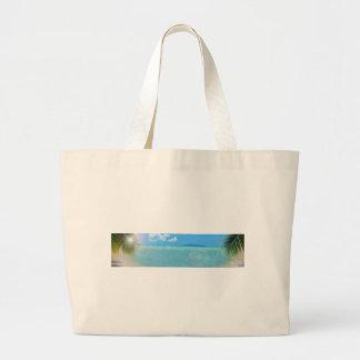 Tropical palm tree and Caribbean ocean Bag