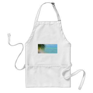 Tropical palm tree and ocean on beach adult apron