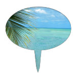 Tropical palm tree and ocean on beach cake toppers