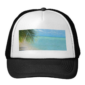 Tropical palm tree and ocean on beach trucker hats