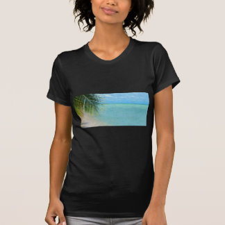 Tropical palm tree and ocean on beach tee shirts
