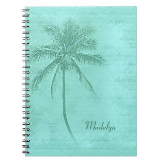 Tropical Palm Tree Aqua Green Notebook