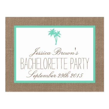 Beach Themed Tropical Palm Tree Beach Bachelorette Party Detail Postcard