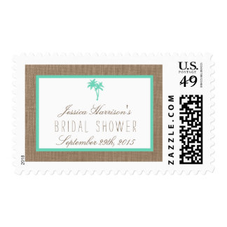 Tropical Palm Tree Beach Bridal Shower Postage