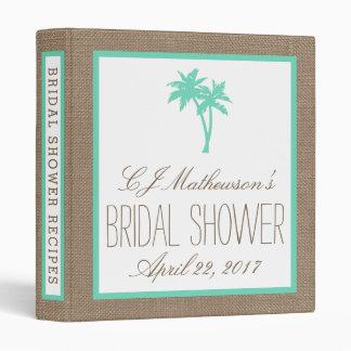 Tropical Palm Tree Beach Bridal Shower Recipe 3 Ring Binder