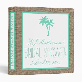 Tropical Palm Tree Beach Bridal Shower Recipe Binder
