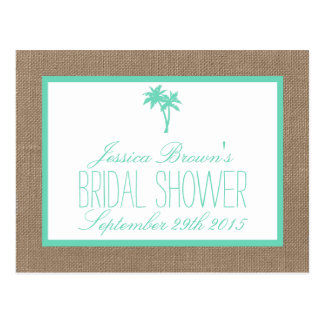 Tropical Palm Tree Beach Bridal Shower Recipe Card