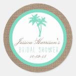 Tropical Palm Tree Beach Bridal Shower Stickers