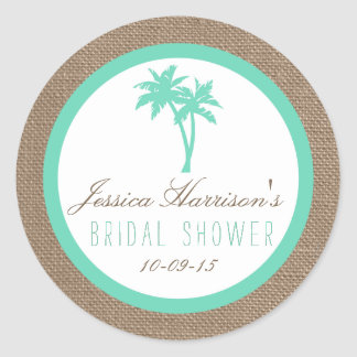 Tropical Palm Tree Beach Bridal Shower Stickers