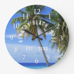 Tropical Palm Tree Beach Large Clock