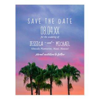 Tropical Palm Tree Beach Sunset Save the Dates Postcard