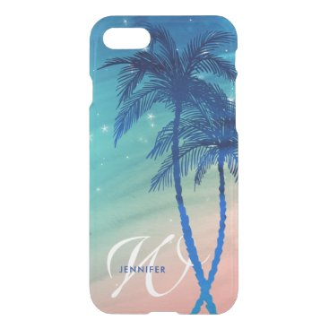 Tropical Palm Tree Beach | Teal Peach Monogram iPhone 7 Case