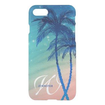 Beach Themed Tropical Palm Tree Beach | Teal Peach Monogram iPhone 8/7 Case