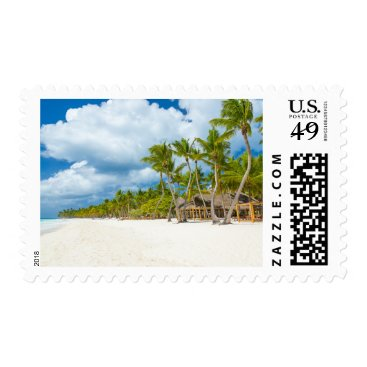Beach Themed Tropical Palm Tree Beach Vacation Travel Stamps