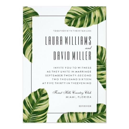 Tropical Wedding Invitations: Tropical Palm Tree Beach Wedding Invitation
