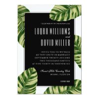 Tropical Palm Tree Beach Wedding Invitation