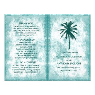 Tropical Palm Tree Beach Wedding Program